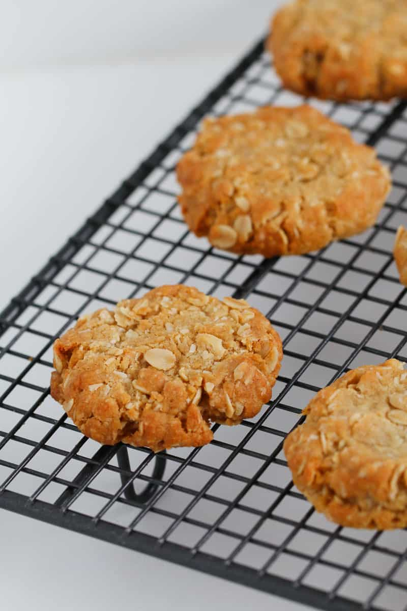 A wire rack with ANZACS cooling.