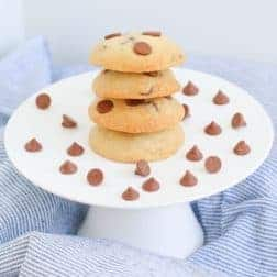 A stack of chocolate chip biscuits.