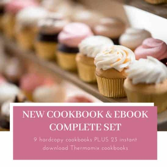 A cookbook with iced mini cupcakes on the cover