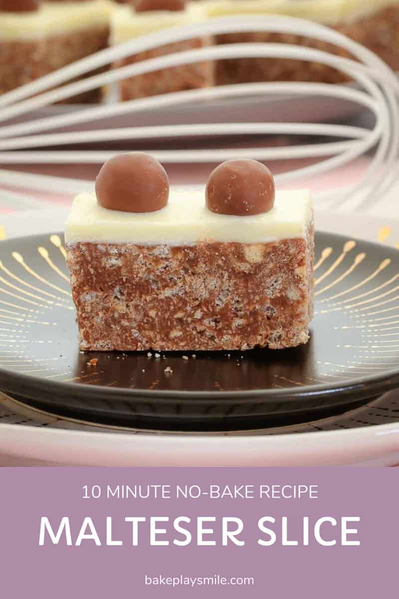 A piece of Malteser Slice on a plate.