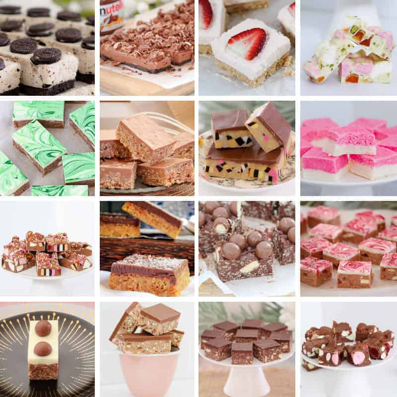 A collage with sixteen images of colourful no-bake slices, cut into bars and squares