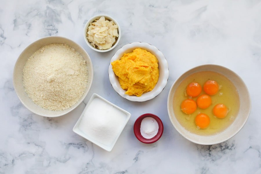 The ingredients for an orange almond cake.