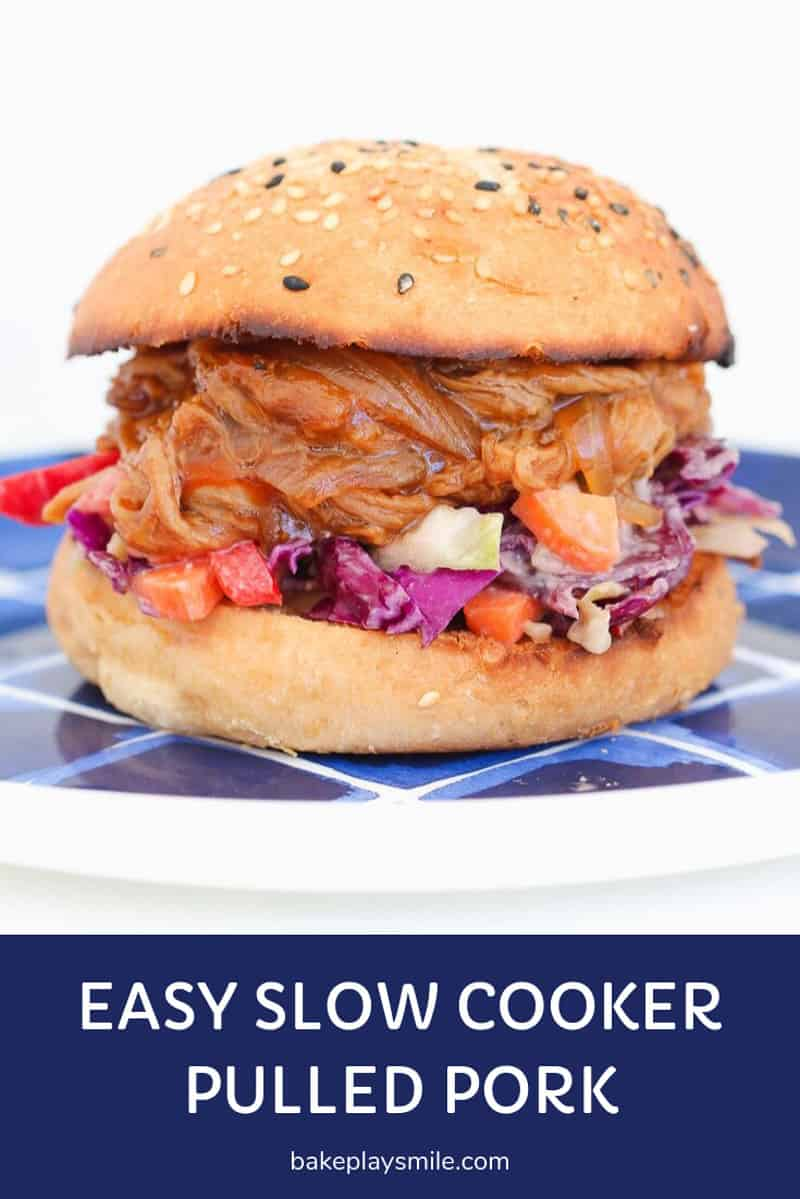 Slow Cooker Pulled Pork in a burger.
