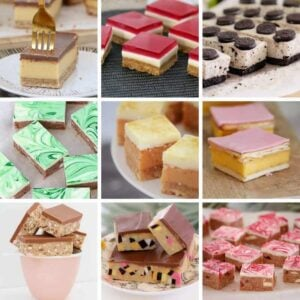 A collage of nine photos of various sweet slices.