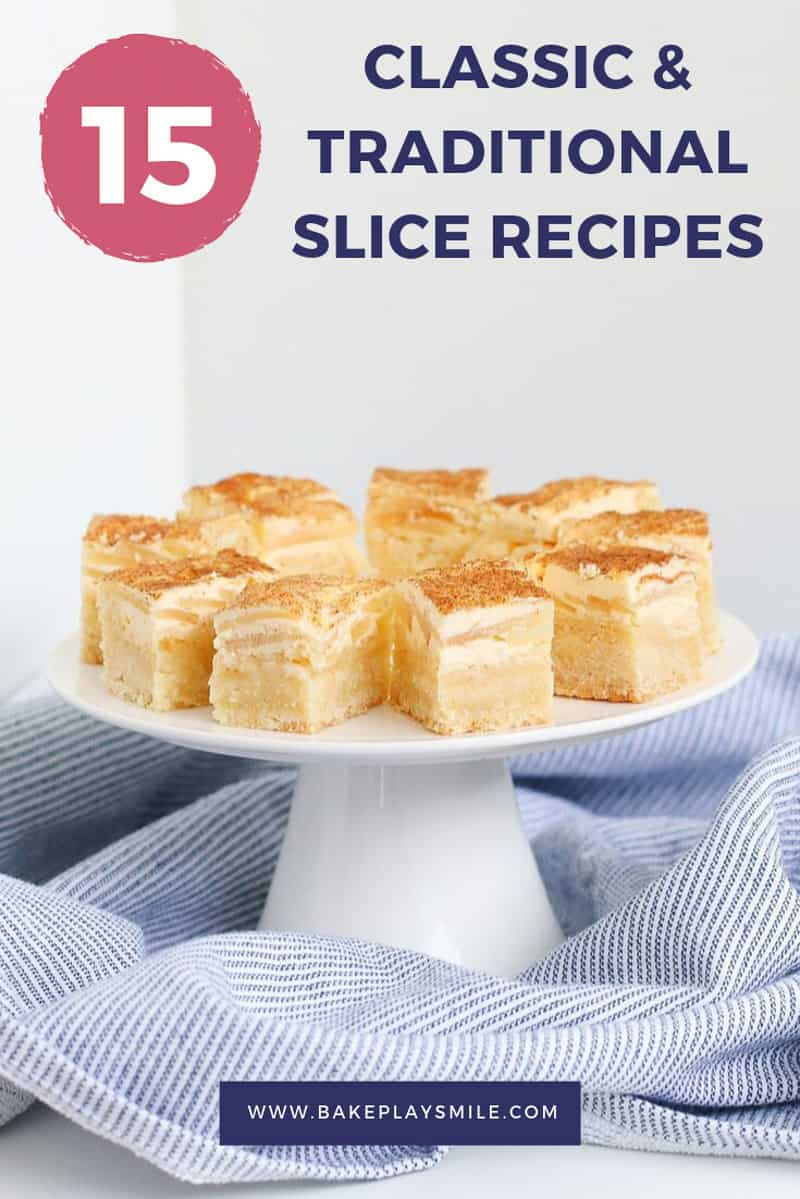 A plate of apple and sour cream slice on cover of a recipe book.