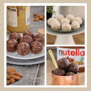 Three photos of Bliss Balls, some rolled in coconut, some prior to coating and a jar of Nutella chocolate hazelnut spread.