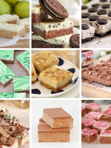 A photo collage of various sweet slices