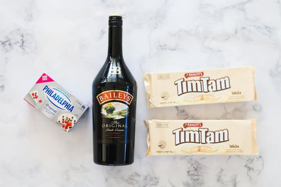 The ingredients for Baileys Tim Tam cheesecake balls.
