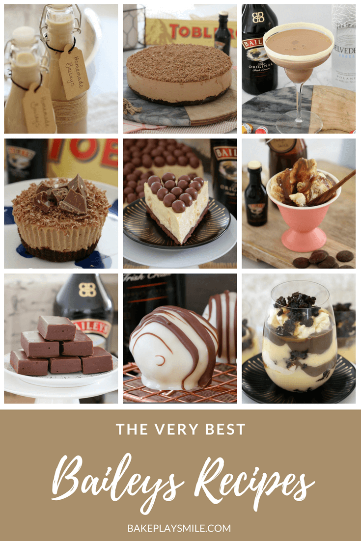 A collage of recipes made using Baileys Irish cream.