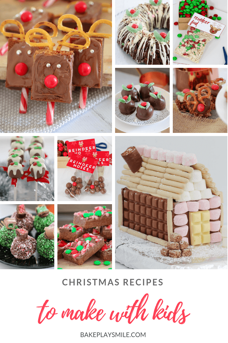 A collage of images of Christmas recipes that kids can make.