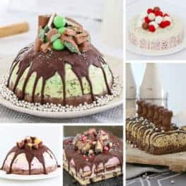 A collage of Christmas ice cream cakes.