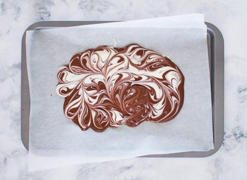 White chocolate swirled through milk chocolate.