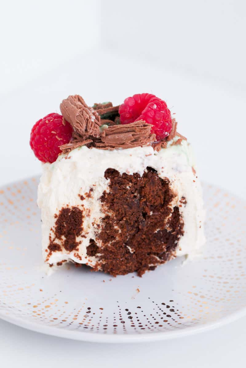 A piece of chocolate and cream cake with raspberries and Flake.