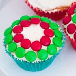 Christmas Cupcakes decorated with M&Ms.