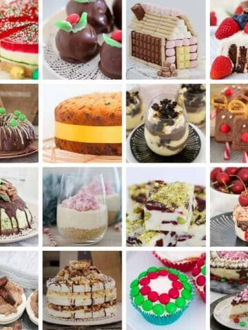 A collage of Christmas dessert recipes.