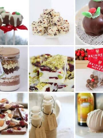 Images of Christmas recipes that can be given as gifts.