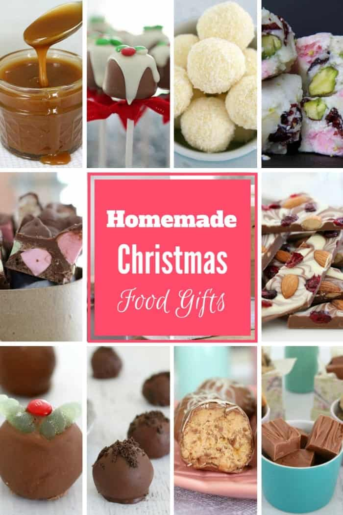 A collection of homemade Christmas foods that can be given as gifts.