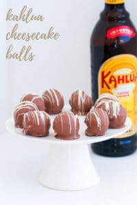 Chocolate cheesecake balls made with Kahlua.