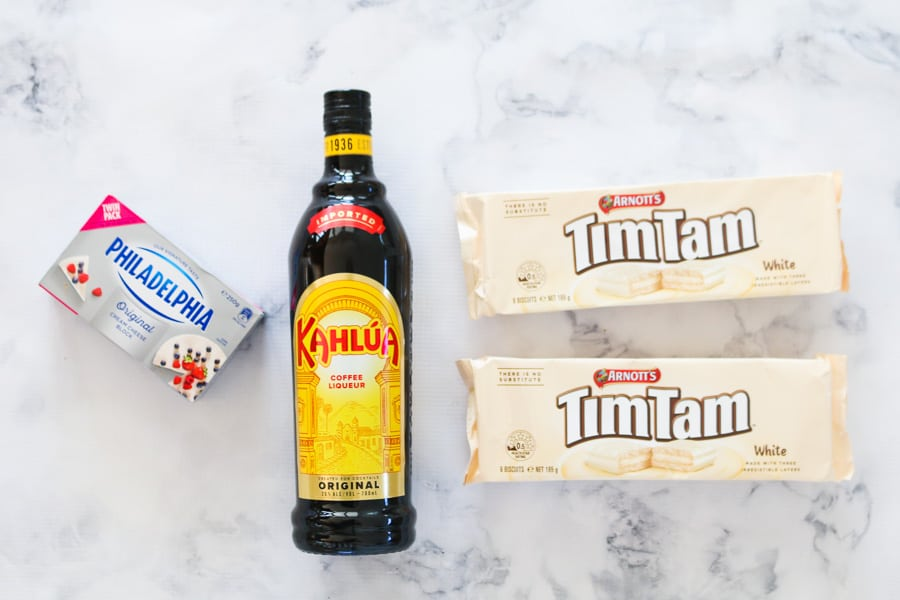 The ingredients for chocolate Kahlua cheesecake balls.