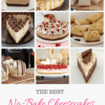 A collage of no bake cheesecake recipes.
