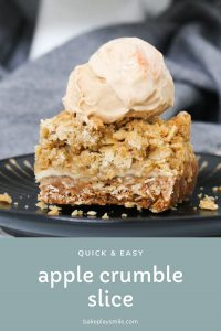 Homemade Apple Crumble Slice filled with sweet apple slices and topped with an oat streusel crumble. Serve it cold or warm it up for a decadent dessert!