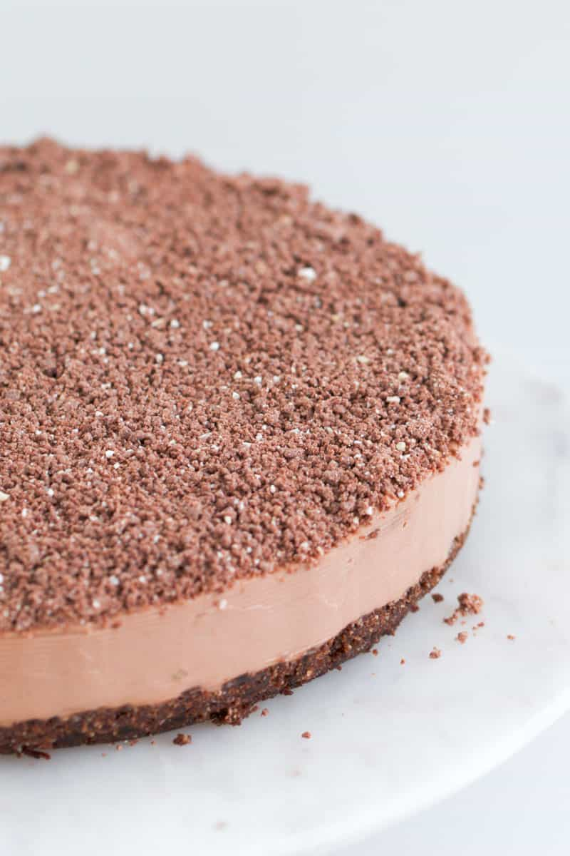 A chocolate no-bake cheesecake.
