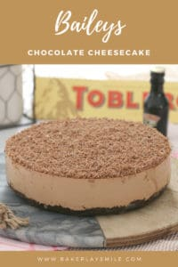 A chocolate Baileys cheesecake topped with grated Toblerone.