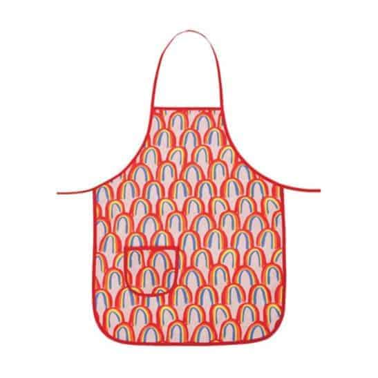 Kids apron with rainbows.