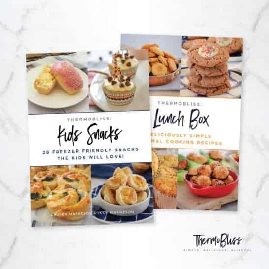 A Kids Snacks recipe book and a Lunch Box recipe book