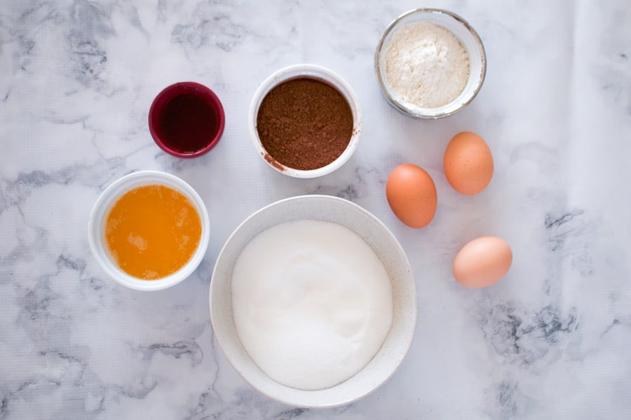 The ingredients for a classic chocolate brownie.