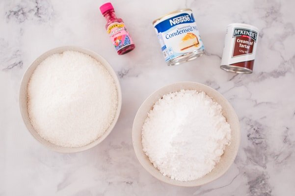 The 5 ingredients for coconut ice.