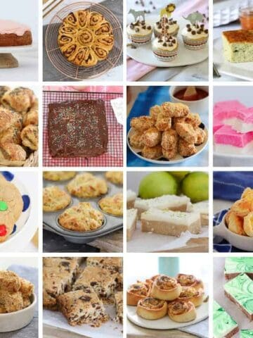 A collage of photos of kids lunch box snack recipes.
