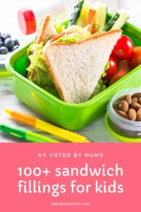 Our list of 100+ sandwich fillings for kids (as voted by mums!) will take the stress out of lunch box planning! Download our FREEsandwich fillings printable! #sandwich #fillings #ideas #kids #school #kinder #lunchbox #toddlers