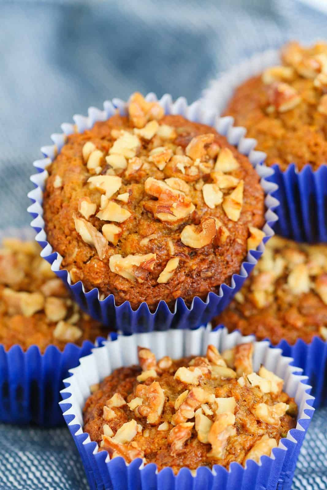 Carrot, banana, apple and oat muffins.
