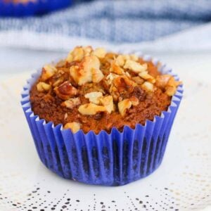 Healthy Carrot Cake Muffins made with carrots, apples, bananas and almond milk... they taste just like your favourite carrot cake recipe, but deliciously light and healthy!