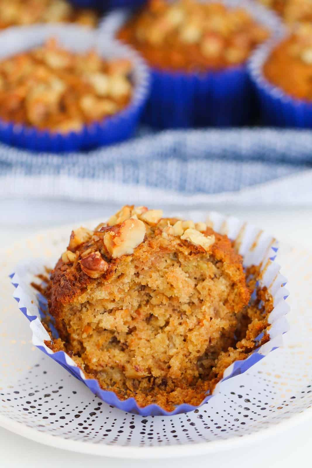 A moist muffin made with carrot, apple and banana.