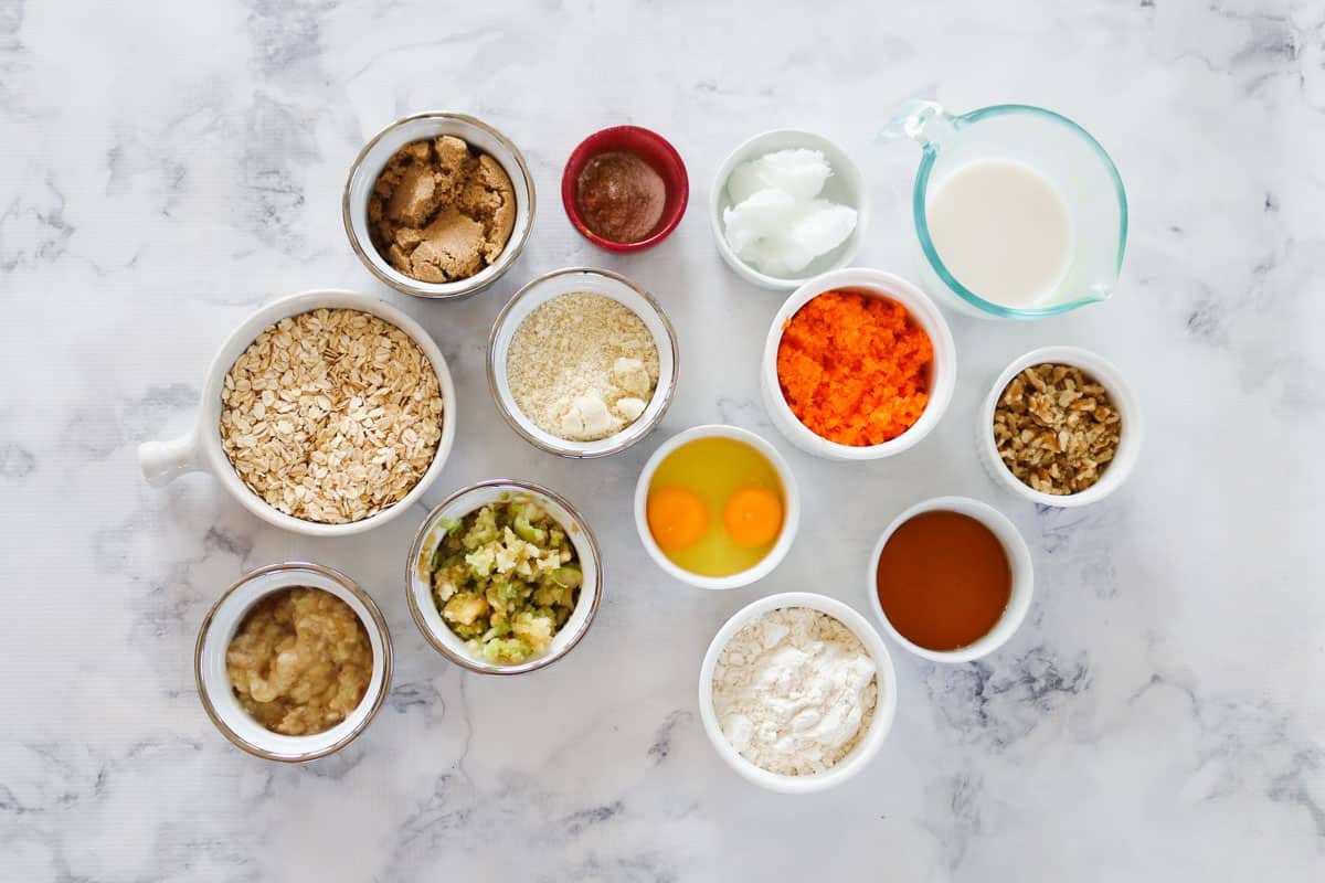 The ingredients for healthy carrot cake muffins.