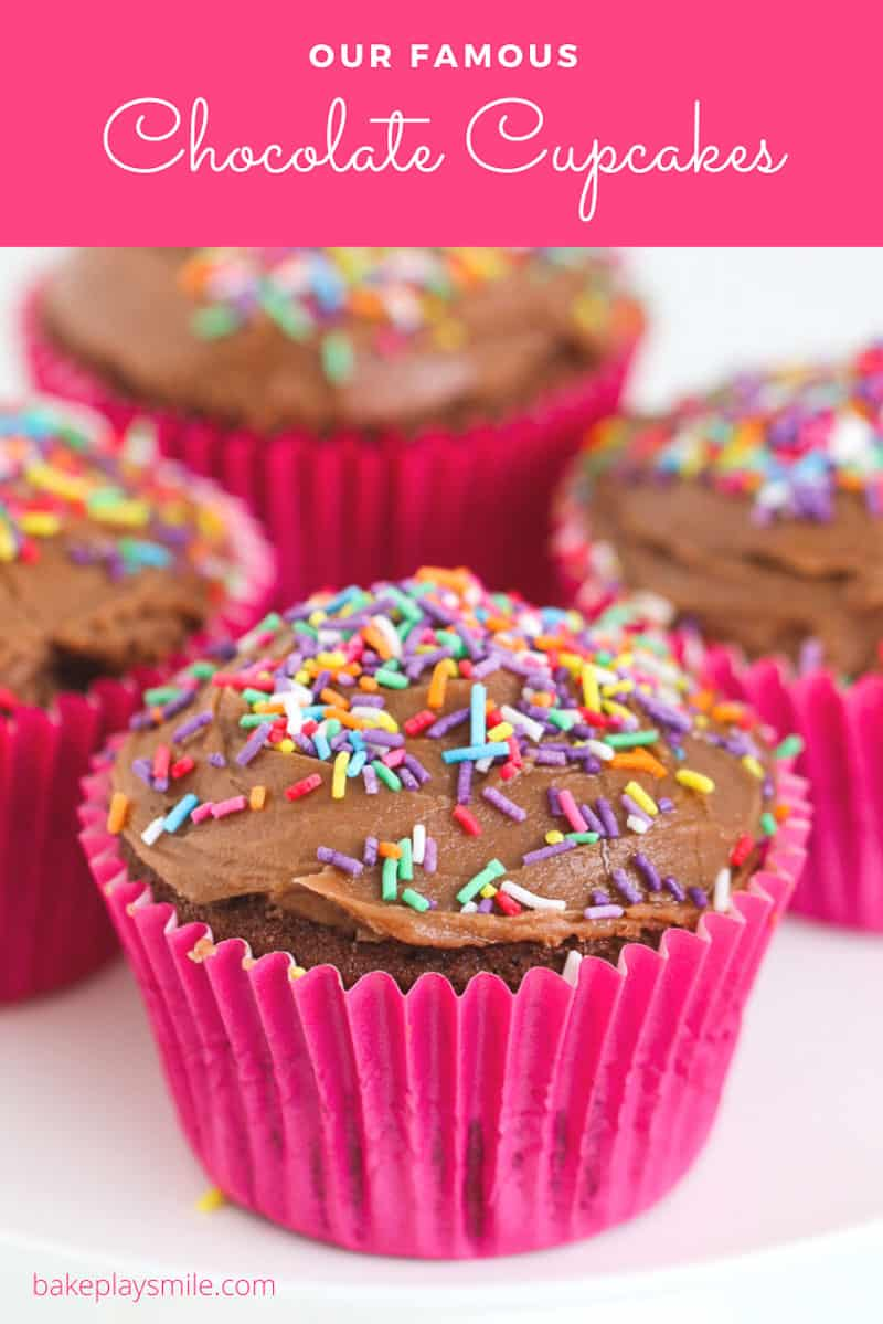 Chocolate cupcakes in pink cupcake cases topped with frosting and colourful sprinkles.