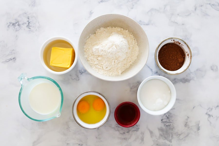 The ingredients needed for chocolate cupcakes.