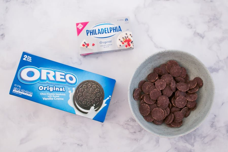 Cream cheese, Oreos and chocolate.
