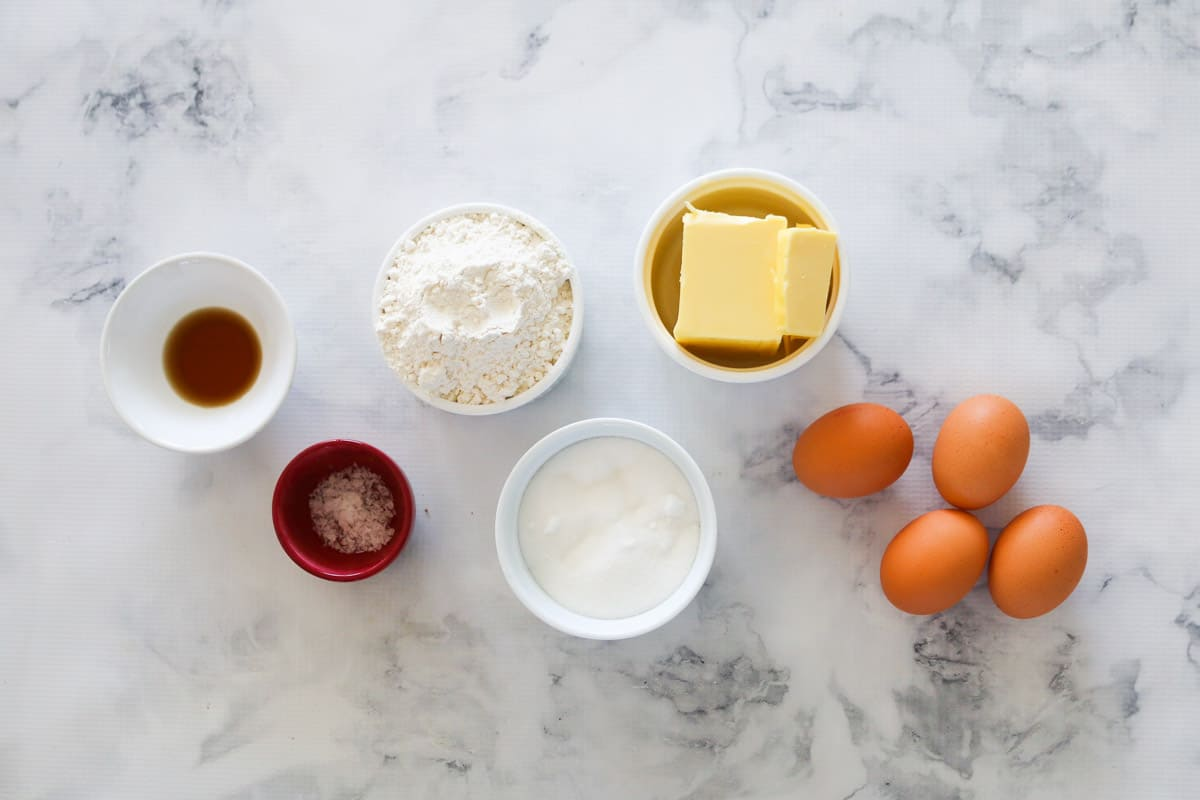 The ingredients for a basic butter cake recipe.