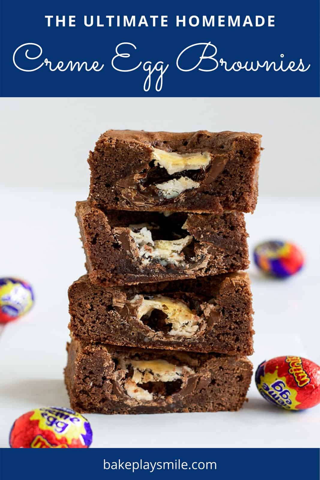 Pieces of chocolate brownie filled with creme eggs.