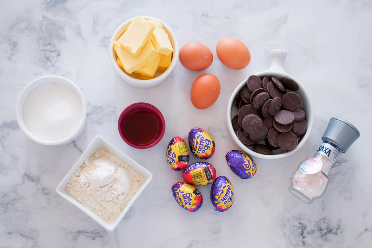 The ingredients for brownies made with Creme Eggs.