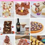 A collage of chocolate recipes for Easter using Easter eggs,