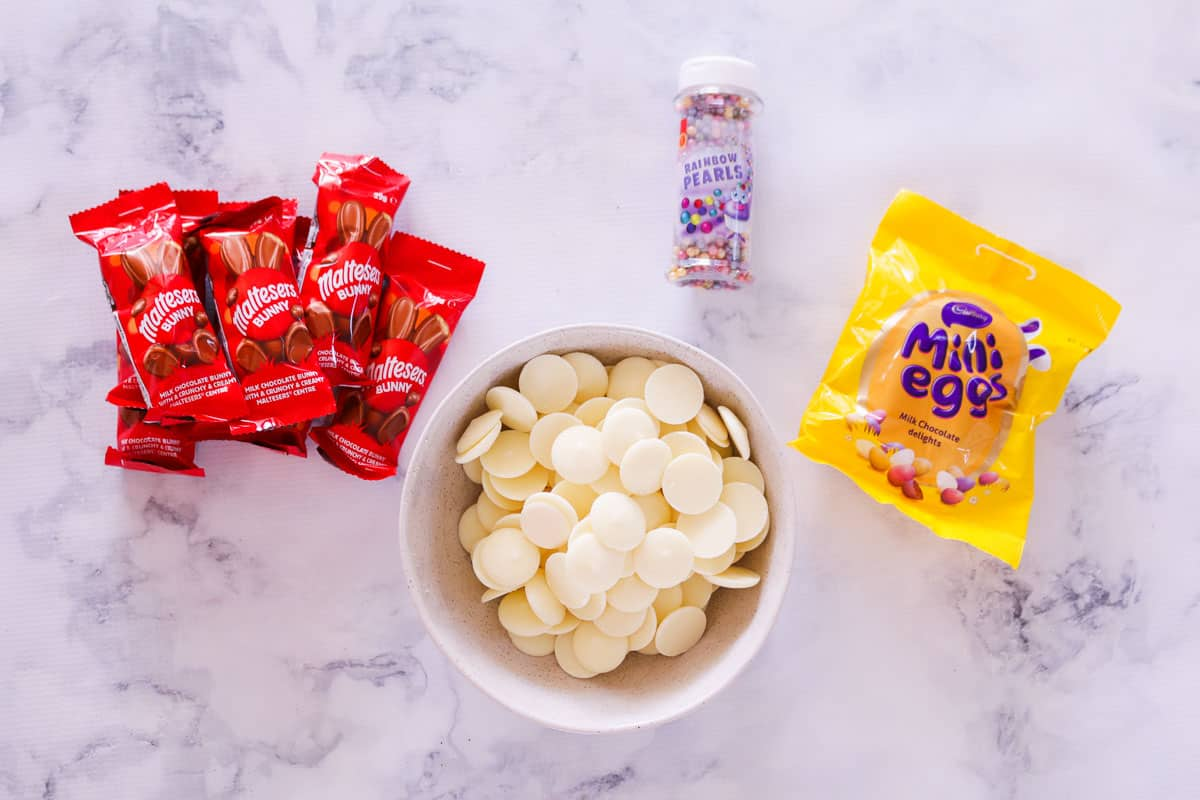 The ingredients for Easter chocolate bark,
