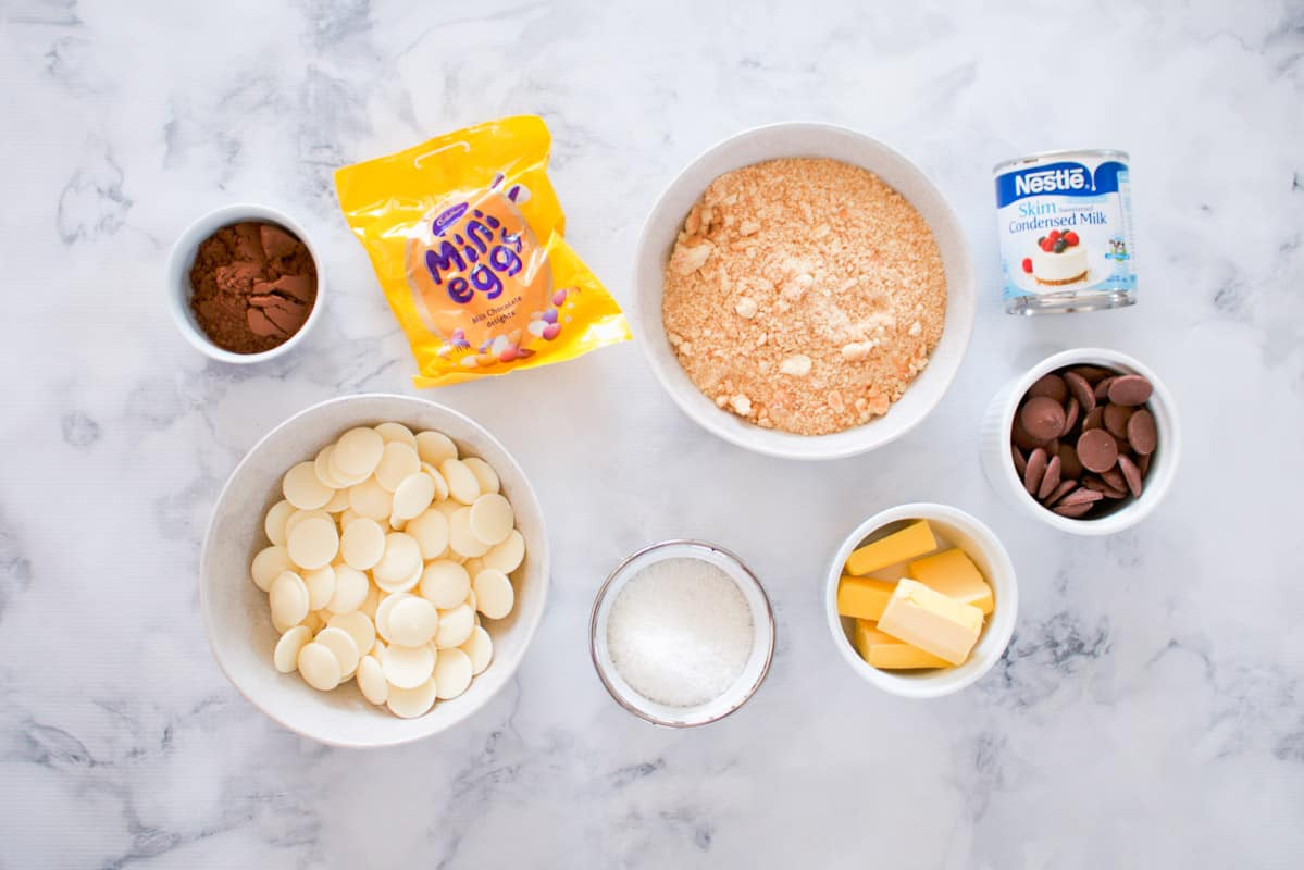 The ingredients for a chocolate Easter egg slice.