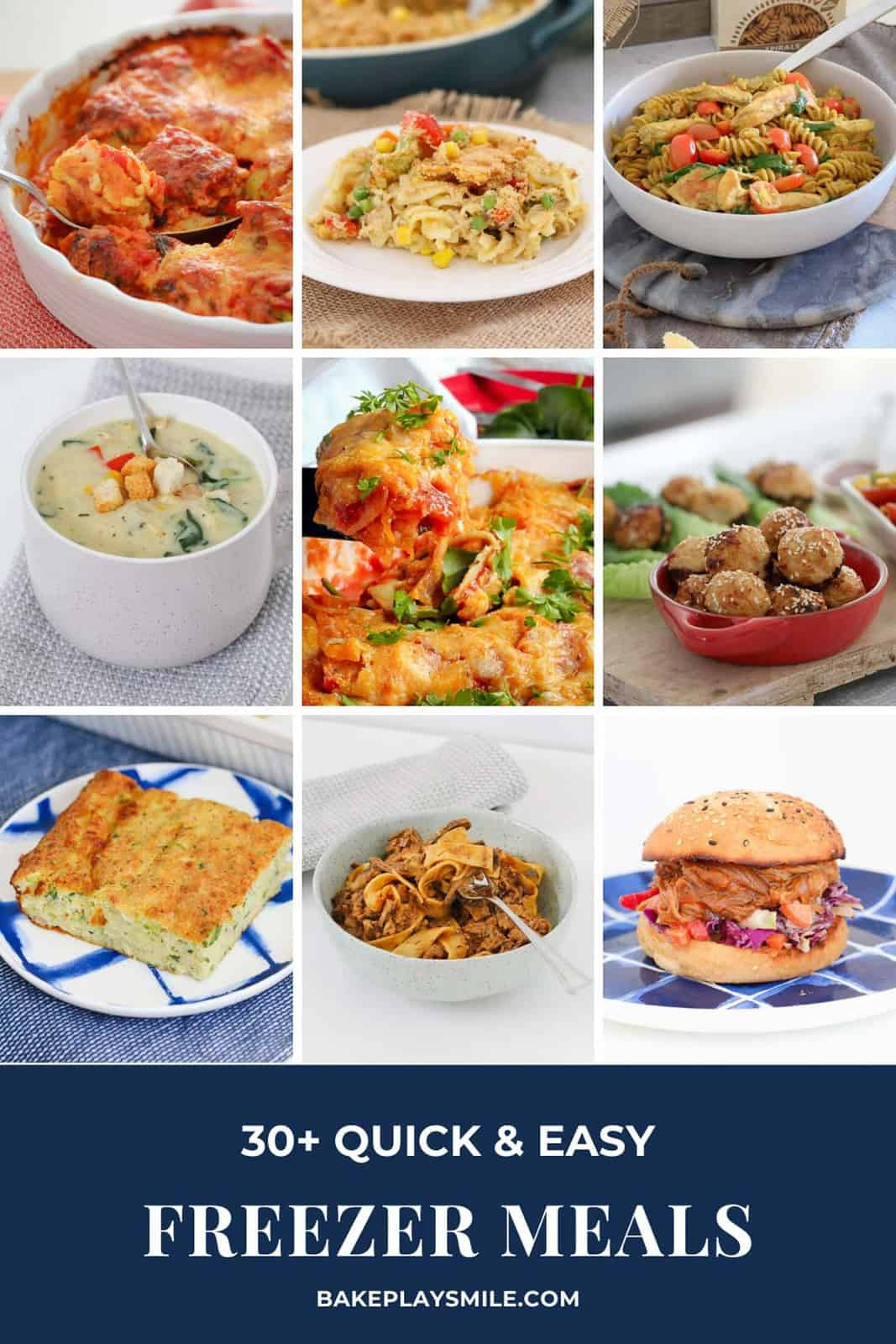 A collection of images of homemade main meals that can be frozen.
