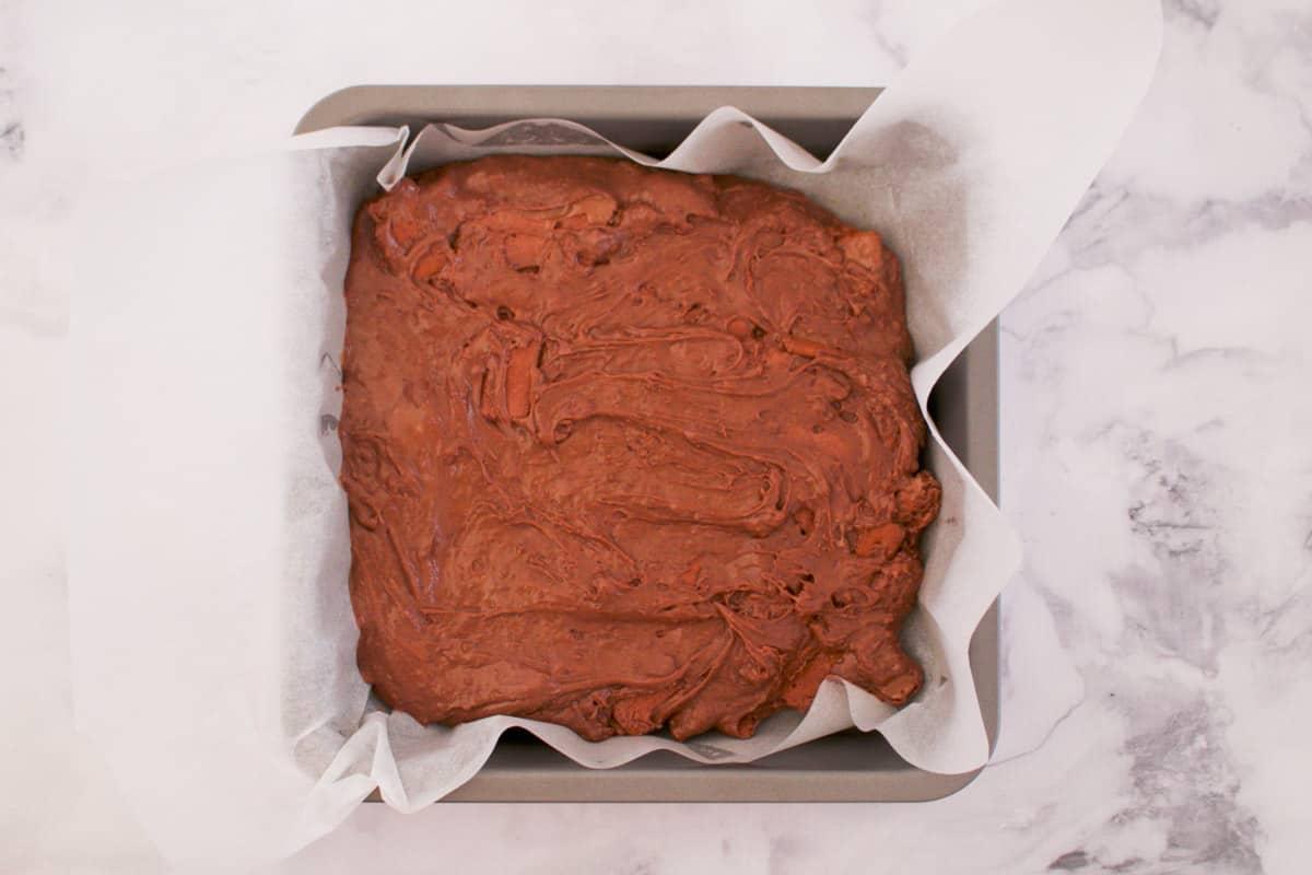 Fudge in a square baking tin.