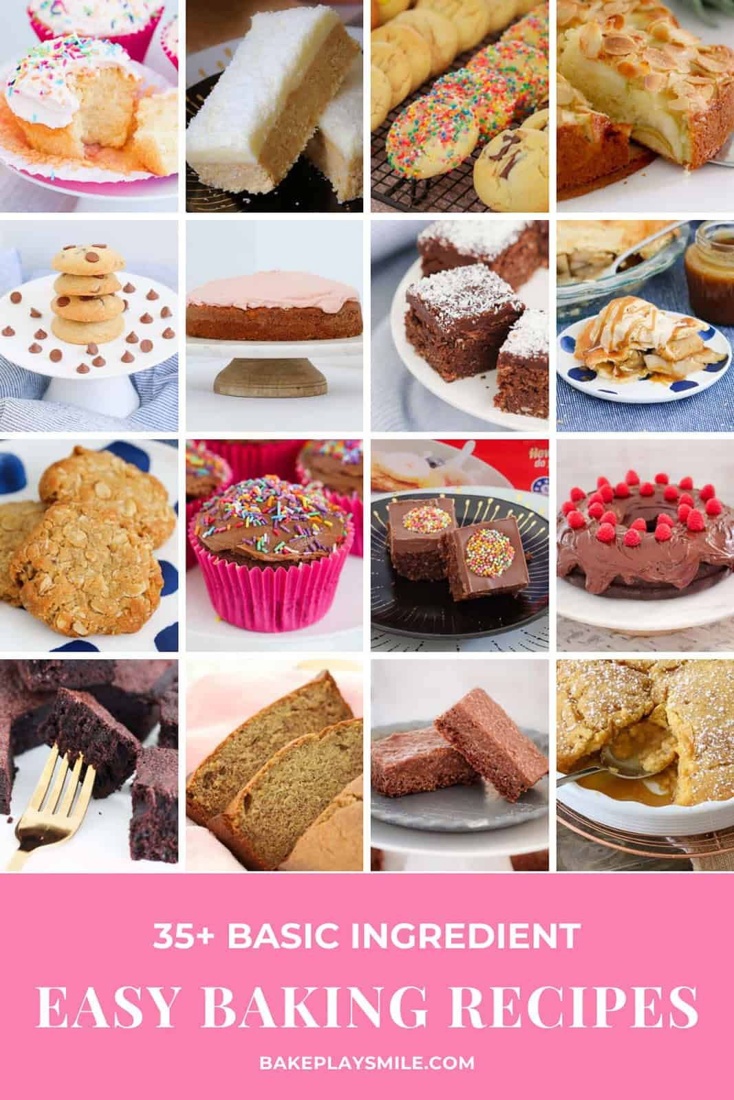 A collage of sweet baking recipes made using basic pantry and refrigerator ingredients.