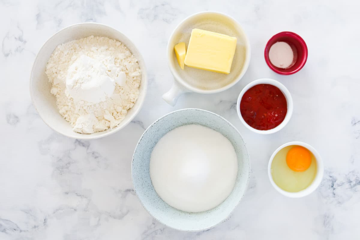The ingredients for jam drops.